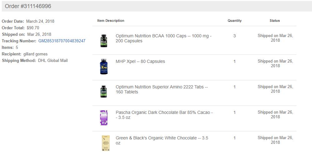 lista de suplementos importados Vitacost Brasil