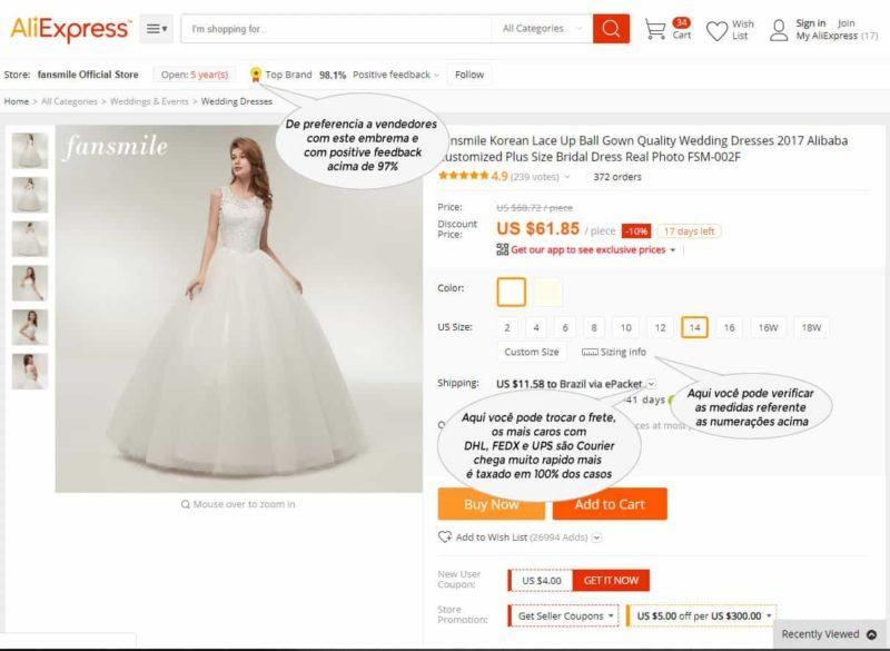 cuidado com o tamanhos dos vestidos da China
