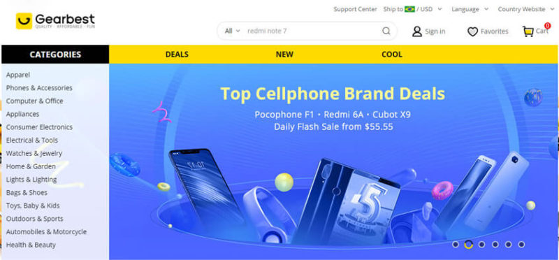 GearBest site chines de eletrotônicos