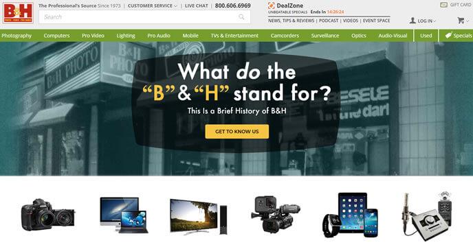 bhphotovideo - site de compra de eletronicos americano