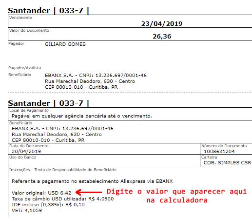 calculadora de imposto de importação