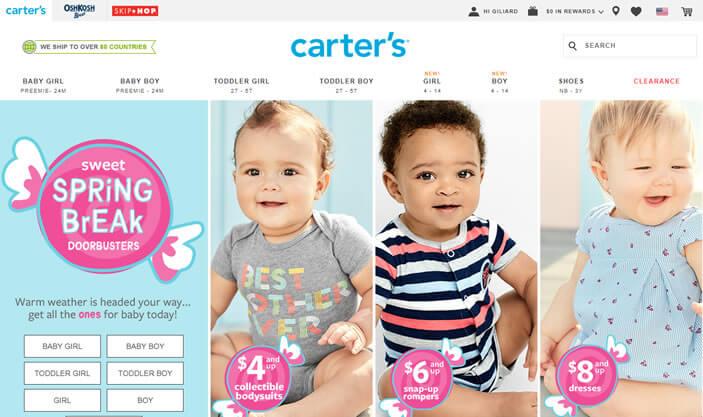 carters - melhor lojas de roupas para bebes e crianças