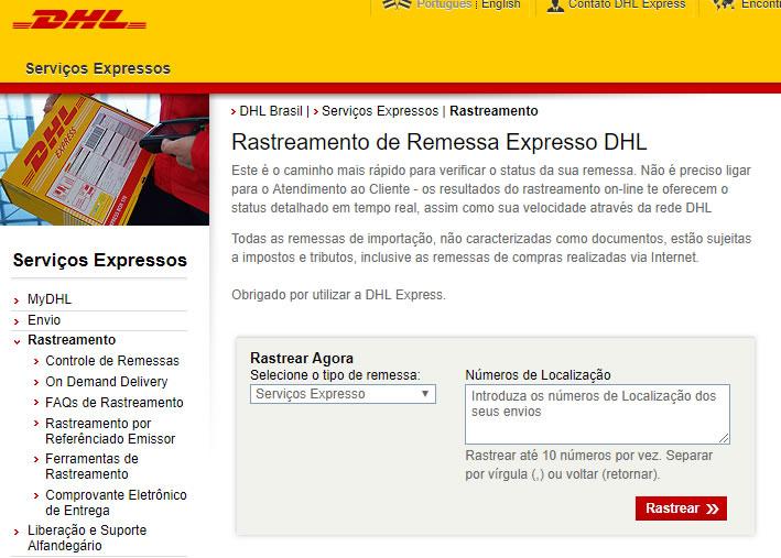 Como rastrear encomenda internacional DHL