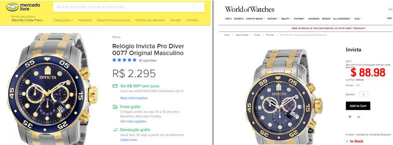 preços de relógios Invicta Brasil x EUA